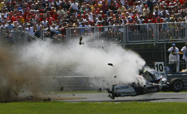 Sauber driver, Robert Kubica of Poland crashes hard at the hairpin turn during the Formula One Grand Prix of Canada 10 June 2007 in Montreal, Quebec,...