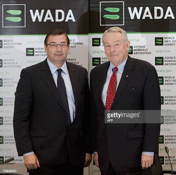 French Sports Minister Jean-Francois Lamour and World Anti-Doping Agency president Dick Pound pose following the WADA board meeting in Montreal 20...