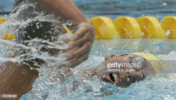 Grant Hackett of Australia swims in a preliminary heat of the Men's 800M Freestyle 26 July 2005 at the XI FINA Swimming World Championships at Parc...