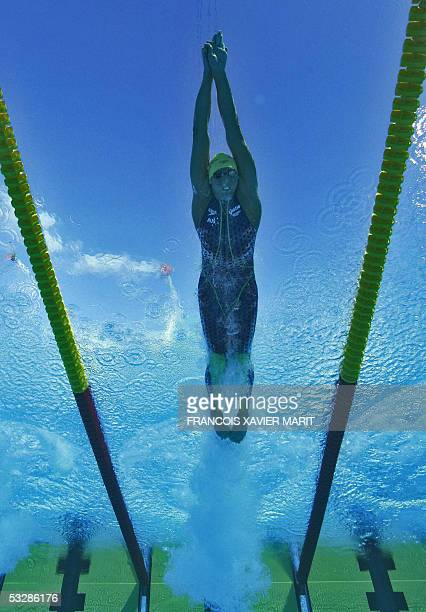 Grant Hackett of Australia swims in the Men's 200M Freestyle semifinal 25 July 2005 at the XI FINA Swimming World Championships at Parc JeanDrapeau...