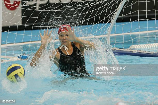 Hungarian goalkeeper Patricia Horvath in action 29 July 2005 during the woman's waterpolo gold medal match Hungary vs USA at the XI FINA World...