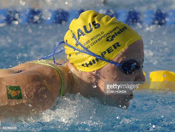 Jessicah Schipper of Australia swims in the Women's 100M Butterfly semifinal 25July 2005 at the XI FINA Swimming World Championships at Parc...