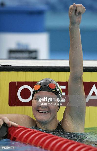 Kirsty Coventry of Zimbabwe celebrates after winning the Women's 100M Backstroke final 26 July 2005 at the XI FINA Swimming World Championships at...