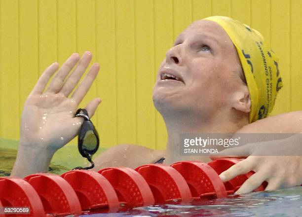 Leisel Jones of Australia looks skyward after winning the Women's 100M Breaststroke final 26 July 2005 at the XI FINA Swimming World Championships at...