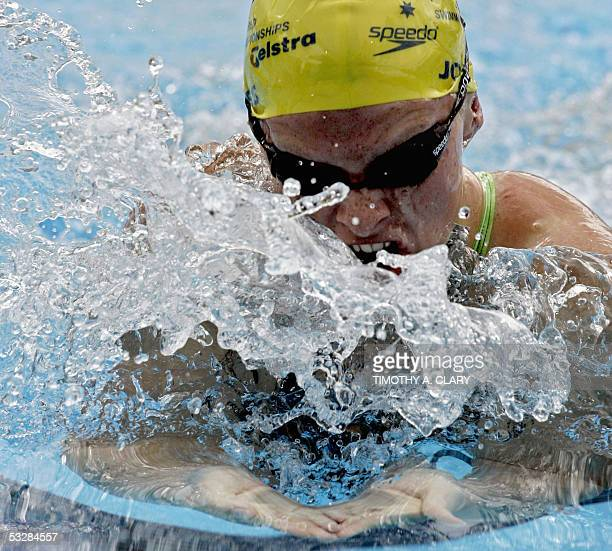 Leisel Jones of Australia swims in the Women's 100M Breaststroke semifinal 25 July 2005 at the XI FINA Swimming World Championships at Parc...