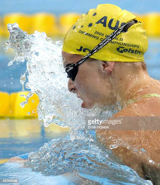 Leisel Jones of Australia swims in the Women's 100M Breaststroke final 25 July 2005 at the XI FINA Swimming World Championships at Parc JeanDrapeau...