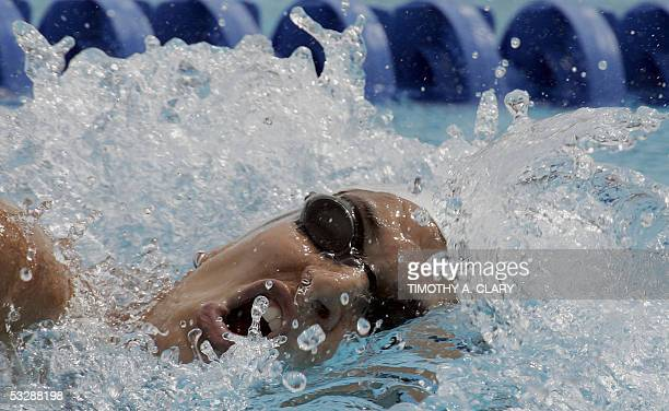 Mariana Brochado of Brazil swims in a preliminary heat of the Women's 200M Freestyle 26 July 2005 at the XI FINA Swimming World Championships at Parc...