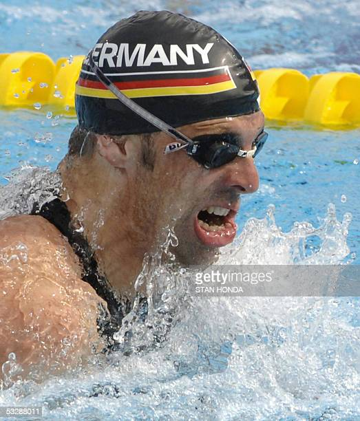 Mark Warnecke of Germany swims in the Men's 50M Breaststroke semifinal 26 July 2005 at the XI FINA Swimming World Championships at Parc JeanDrapeau...
