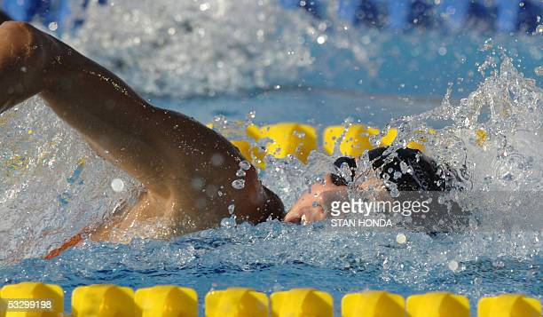 Marleen Veldhuis of the Netherlands swims in the Women's 100M Freestyle semifinal 28 July 2005 at the XI FINA Swimming World Championships at Parc...
