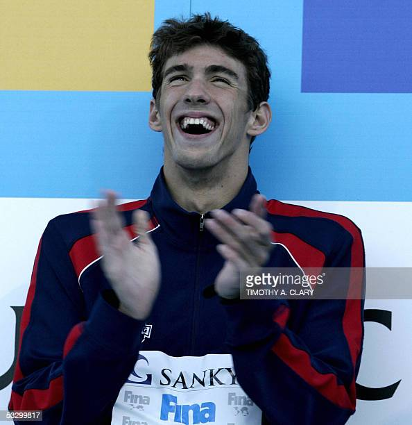 Michael Phelps of the USA smiles during the medals ceremony following the Men's 200M Individual Medley final 28 July 2005 at the XI FINA Swimming...