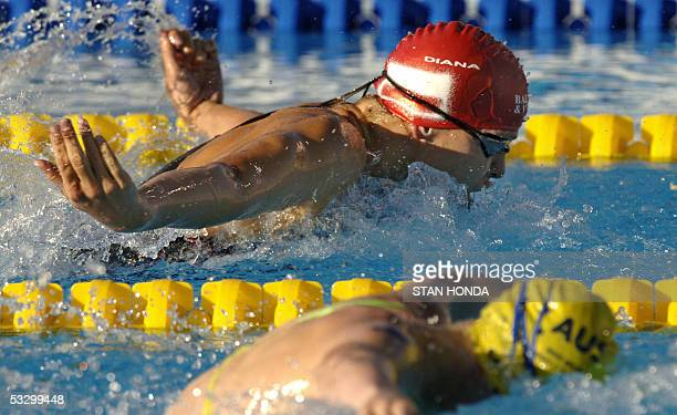 Otylia Jedrzejczak of Poland and Jessicah Schipper of Australia swim in the Women's 200M Butterfly final 28 July 2005 at the XI FINA Swimming World...