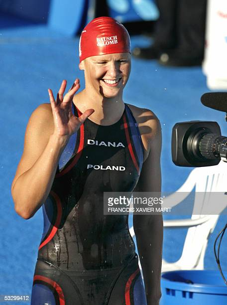 Otylia Jedrzejczak of Poland flashes a smile after winning the Women's 200M Butterfly final 28 July 2005 at the XI FINA Swimming World Championships...