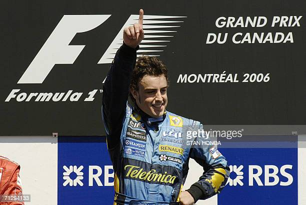 Renault driver Fernando Alonso of Spain celebrates winning the Formula One Grand Prix of Canada 25 June in Montreal Alonso produced a faultless...