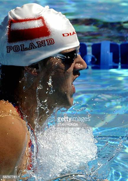 Slawomir Kuczko of Poland swims in a heat of the Men's 200M Breaststroke 28 July 2005 at the XI FINA Swimming World Championships at Parc JeanDrapeau...