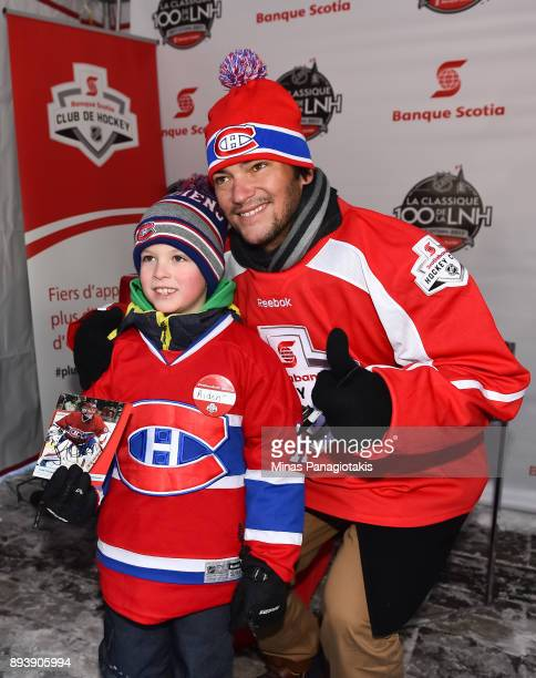 Montreal Canadiens alumni José Théodore poses with fans in the Centennial Fan Arena during the 2017 Scotiabank NHL100 Classic at Lansdowne Park on...