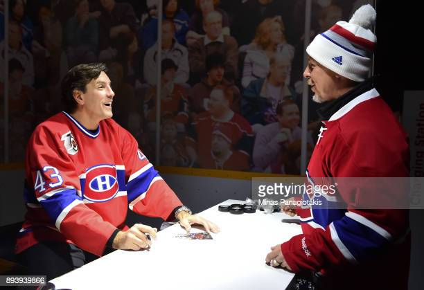 Montreal Canadiens alumni Patrice Brisebois signs autographs in advance of the 2017 Scotiabank NHL100 Classic at Lansdowne Park on December 16 2017...