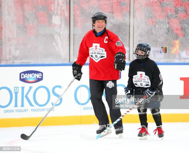 Montreal Canadiens alumni Shane Corson skates with Scotiabank skaters to celebrate the sponsorship of 1 million minor hockey league kids in advance...