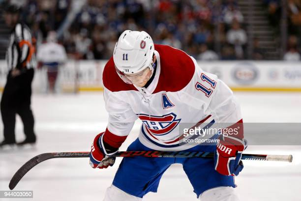 Montreal Canadiens Assistant Captain Right Wing Brendan Gallagher bows his head late in the game down 2 goals during the final NHL 2018 regularseason...
