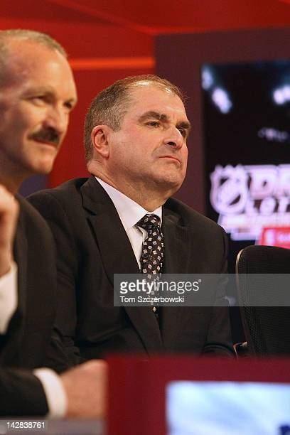 Montreal Canadiens Assistant General Manager Larry Carriere looks on at the NHL Draft Lottery on April 10 2012 at the TSN Studios in Toronto Ontario...