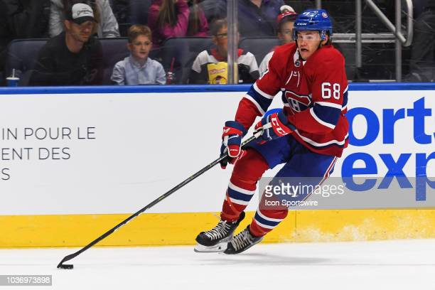 Montreal Canadiens center Alexandre Alain gains control of the puck during the Washington Capitals versus the Montreal Canadiens preseason game on...
