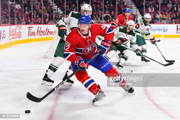Montreal Canadiens Center Byron Froese gains control of the puck during the Minnesota Wild versus the Montreal Canadiens game on November 9 at Bell...