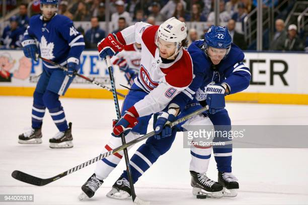 Montreal Canadiens Center Jonathan Drouin and Toronto Maple Leafs Defenceman Nikita Zaitsev battle for the puck during the final NHL 2018...