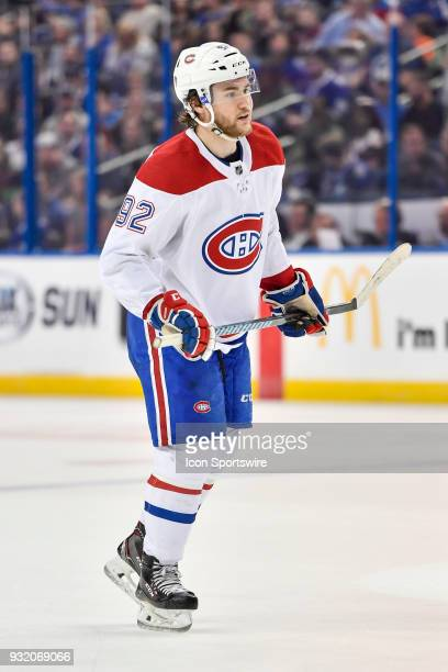 Montreal Canadiens center Jonathan Drouin during the second period of an NHL game between the Montreal Canadiens and the Tampa Bay Lightning on March...