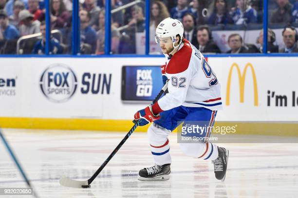 Montreal Canadiens center Jonathan Drouin during the third period of an NHL game between the Montreal Canadiens and the Tampa Bay Lightning on March...