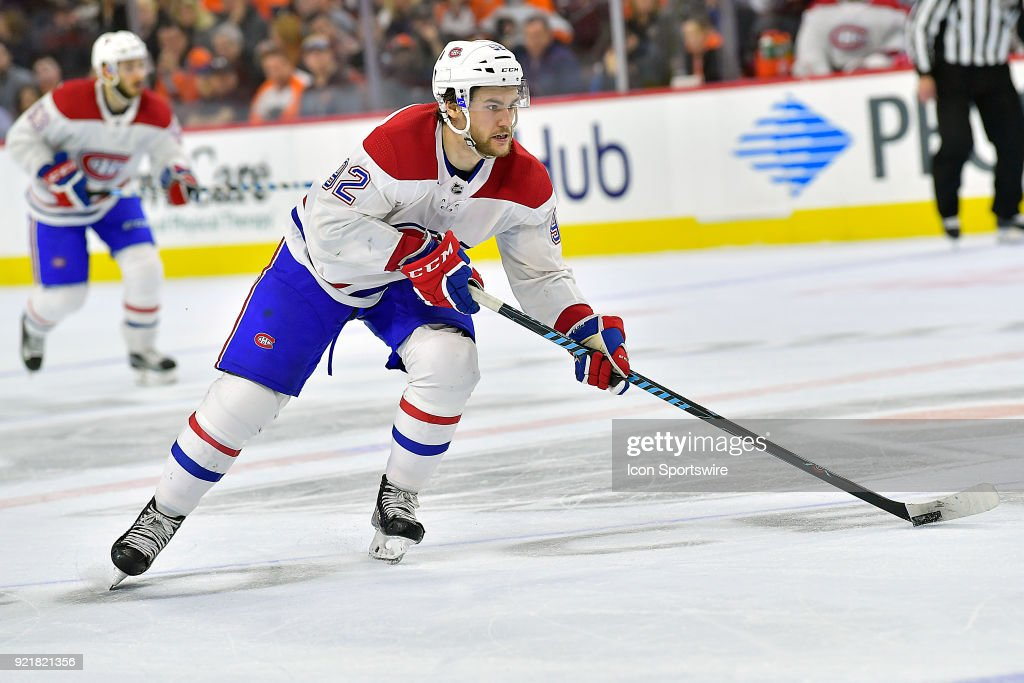 Montreal Canadiens center Jonathan Drouin (92) in action during the NHL game between the Montreal Canadiens and the Philadelphia Flyers on February 20, 2018 at the Wells Fargo Center in Philadelphia PA.