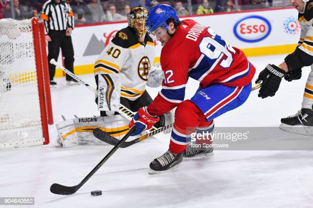 Montreal Canadiens Center Jonathan Drouin looses control of the puck near Boston Bruins Goalie Tuukka Rask during the Boston Bruins versus the...