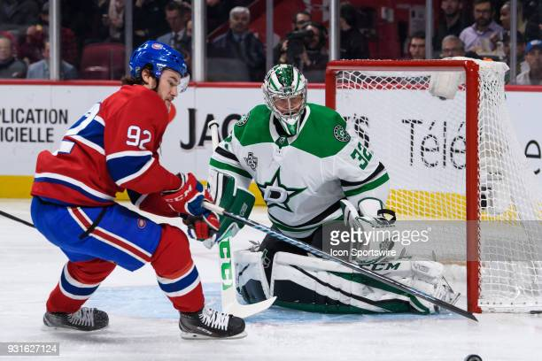 Montreal Canadiens center Jonathan Drouin loses control of the puck in front of Dallas Stars goaltender Kari Lehtonen during the first period of the...