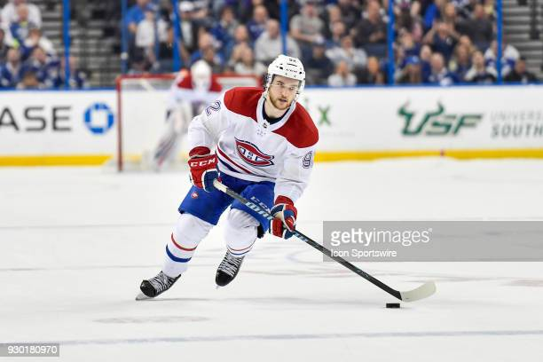 Montreal Canadiens center Jonathan Drouin skates in during the shootout of an NHL game between the Montreal Canadiens and the Tampa Bay Lightning on...