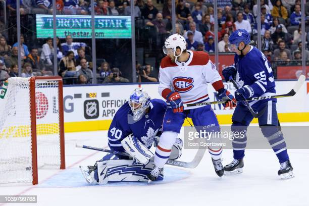 Montreal Canadiens Center Michael Chaput and Toronto Maple Leafs Goaltender Garret Sparks watch the puck cross the line for the second goal of the...