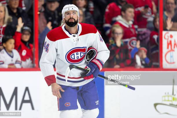 Montreal Canadiens Center Nate Thompson during warmup before National Hockey League action between the Montreal Canadiens and Ottawa Senators on...