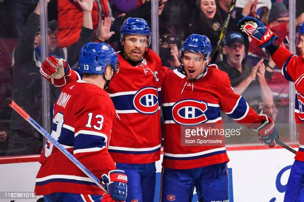 Montreal Canadiens center Nick Suzuki celebrates his goal with his teammates during the New Jersey Devils versus the Montreal Canadiens game on...