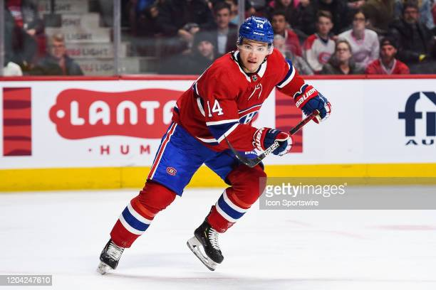 Montreal Canadiens center Nick Suzuki tracks the play during the Carolina Hurricanes versus the Montreal Canadiens game on February 29 at Bell Centre...