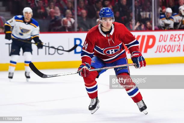 Montreal Canadiens center Nick Suzuki tracks the play during the St Louis Blues versus the Montreal Canadiens game on October 12 at Bell Centre in...