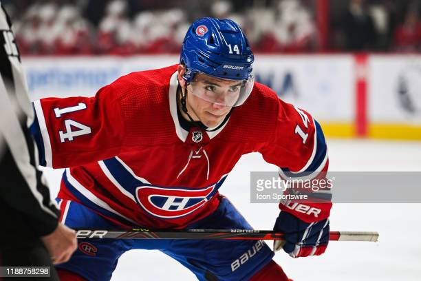 Montreal Canadiens center Nick Suzuki waits for a faceoff during the Detroit Red Wings versus the Montreal Canadiens game on December 14 at Bell...