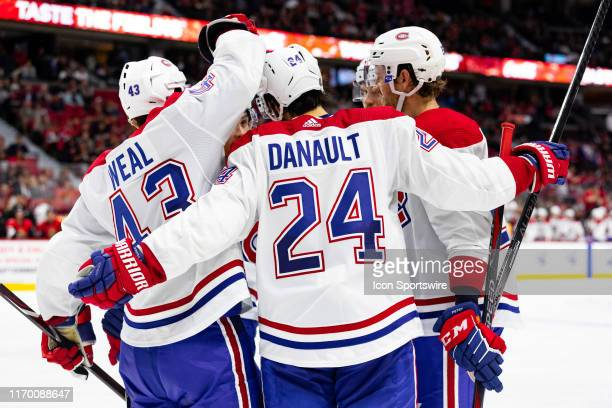 Montreal Canadiens center Phillip Danault celebrates his goal with Montreal Canadiens center Jordan Weal during third period National Hockey League...