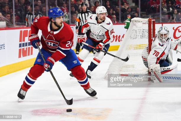 Montreal Canadiens center Phillip Danault looks for a pass target during the Washington Capitals versus the Montreal Canadiens game on January 27 at...