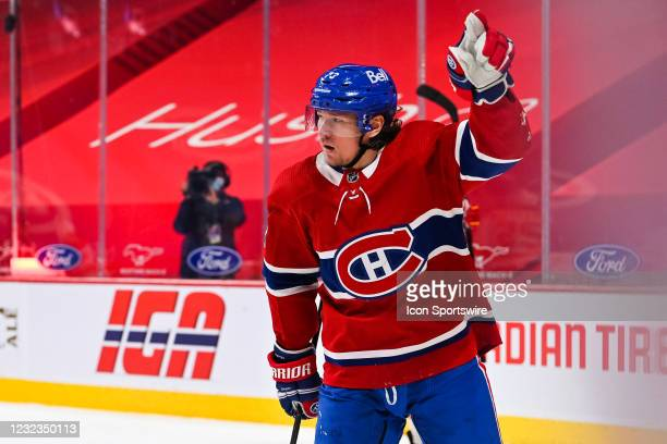 Montreal Canadiens center Tyler Toffoli shows pride after scoring a goal during the Calgary Flames versus the Montreal Canadiens game on April 16 at...