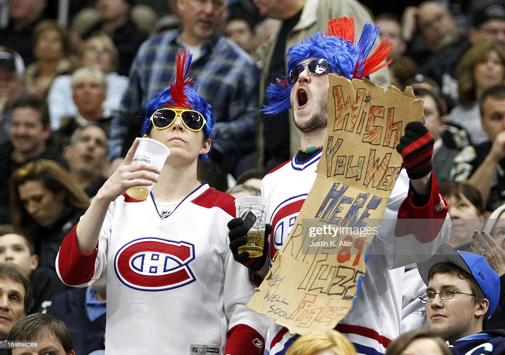 Montreal Canadiens cheer against the Pittsburgh Penguins during the game at Consol Energy Center on March 26, 2013 in Pittsburgh, Pennsylvania. The Penguins defeated the Canadiens 1-0.