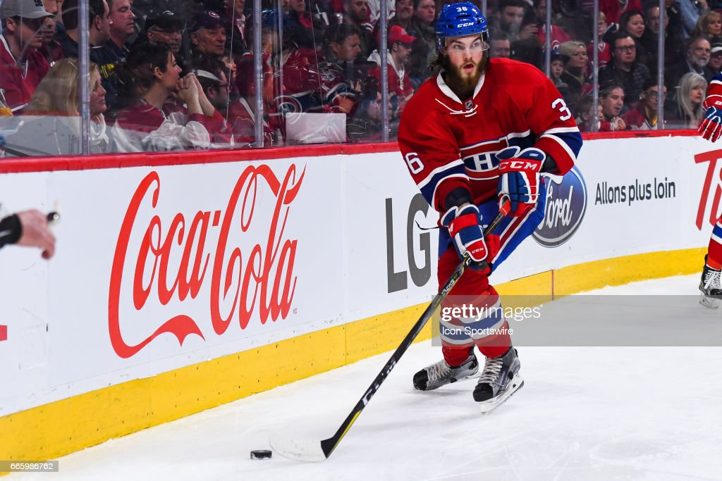 Montreal Canadiens Defenceman Brett Lernout (36) getting to the puck during the Tampa Bay Lightning versus the Montreal Canadiens game on April 7, 2017, at Bell Centre in Montreal, QC