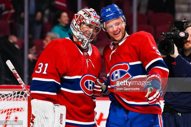Montreal Canadiens defenceman Christian Folin all smiles besinde Montreal Canadiens goalie Carey Price after the win celebrating the fact Montreal...