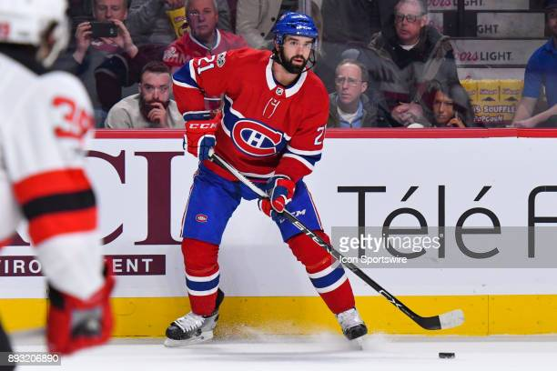 Montreal Canadiens Defenceman David Schlemko looks at a pass target during the New Jersey Devils versus the Montreal Canadiens game on December 14 at...