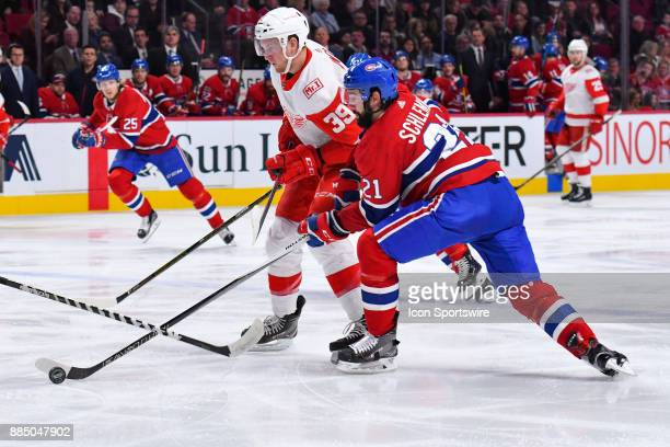 Montreal Canadiens Defenceman David Schlemko steals the puck away from Detroit Red Wings Left Wing Anthony Mantha during the Detroit Red Wings versus...