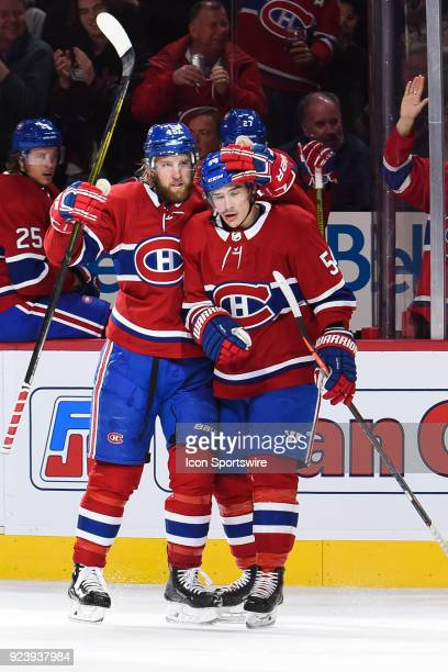 Montreal Canadiens Defenceman Joe Morrow celebrates his goal with Montreal Canadiens Winger Charles Hudon during the Tampa Bay Lightning versus the...