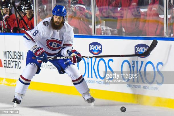 Montreal Canadiens Defenceman Jordie Benn gets to the puck during the Montreal Canadiens versus the Ottawa Senators NHL100 Classic game on December...