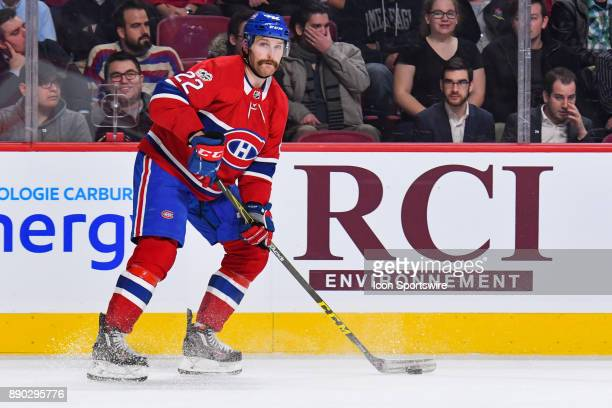 Montreal Canadiens Defenceman Karl Alzner skates in control of the puck during the Calgary Flames versus the Montreal Canadiens game on December 7 at...