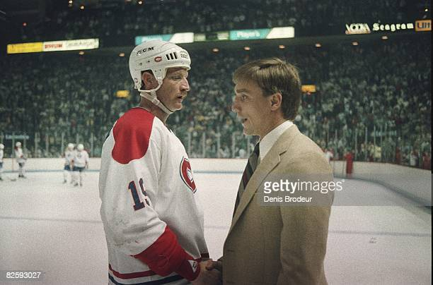 Montreal Canadiens defenceman Larry Robinson shakes hands after Philadelphia victory in the Wales Conference finals at the Montreal Forum in 1987.